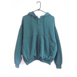 Vintage 90s Forest Green/Navy Button V Neck Hoodie